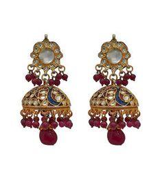 Multicoloured Embellished Earrings With Enameling