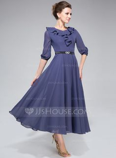 A-Line/Princess Scoop Neck Tea-Length Chiffon Mother of the Bride Dress With Sash Cascading Ruffles (008042829) - JJsHouse