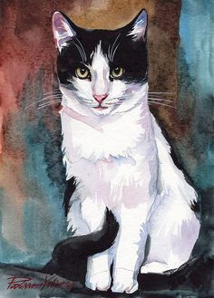 Print of the Original Watercolor Painting Tuxedo Cat Black and White Cat Kitty… #watercolorarts