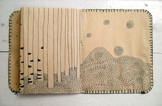 """art journal inspiration - pages from """"The Tree Book"""" by Cecilia Levy SKETCH PAD Art Journal Pages, Art Journals, Sketchbook Inspiration, Art Sketchbook, Altered Books, Altered Art, Books Art, Art Textile, Handmade Books"""