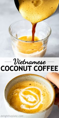 Vietnamese Coconut Coffee (Cafe Cot Dua) is an interesting drink that has the intensity and aroma of coffee and the subtle richness of coconut milk. This strong and velvety coffee is definitely a must-try. Coffee Drink Recipes, Coffee Drinks, Best Coffee, Coffee Coffee, Ninja Coffee, Coffee Cake, Coffee Girl, Coffee Percolator, Coffee Enema