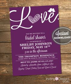 Purple Bridal Shower Invitation, Love, Birds, Heart, Purple, Eggplant, Plum, Wine, White, Modern, Printable File (Custom, INSTANT DOWNLOAD)