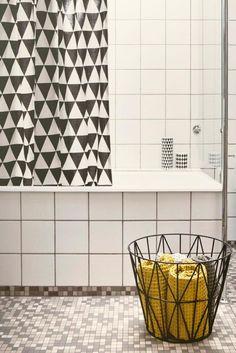 Ferm Living shower curtain via Charlotte Minty Interior Design blog.  @Sepi Alavi