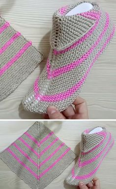 Amazing Knitting provides a directory of free knitting patterns, tips, and tricks for knitters. Knit Slippers Free Pattern, Crochet Slipper Pattern, Crochet Shoes, Knit Crochet, Easy Knitting, Knitting Socks, Knitting Patterns Free, Knitting Wool, Knitted Booties