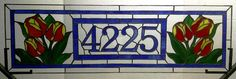 Stained Glass Window - Tulip Transom with House Numbers (AM-14)