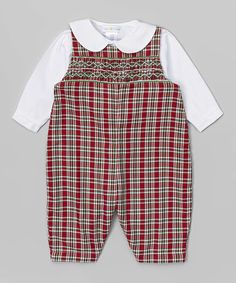 Petit Pomme Red & Green Plaid Overalls & White Peter Pan Collar Tee - Infant | zulily
