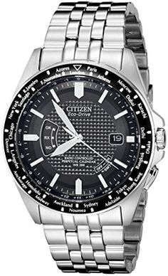 Citizen EcoDrive Mens CB002050E World Perpetual AT Stainless Steel Watch -- Details can be found by clicking on the image.