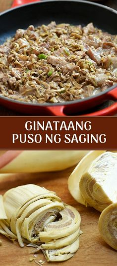 GInataang Puso ng Saging with shredded banana blossoms and diced pork in a creamy and spicy coconut sauce. It's easy to make, budget-friendly and the perfect vegetable side dish to grilled meat or fish. #vegetable #asianrecipes #filipinofood #pork #banana #sidedish #coconut