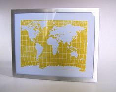 PRINT  world map YELLOW LINOCUT POSTER 8X10 by thebigharumph