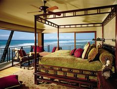 Exotic Bedroom by Jacques Saint Dizier and Donald Botsai in Oahu, Hawaii