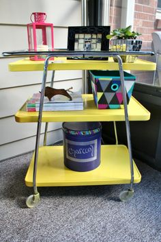 A dual purpose cart for indoor/outdoor use with so many fun and functional projects on its shelves! | www.rappsodyinrooms.com