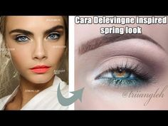 Cara Delevingne inspired spring look Bold Brows, Blue Makeup, Radiant Skin, Spring Looks, Cara Delevingne, Color Pop, Makeup Looks, Make Up, Inspired