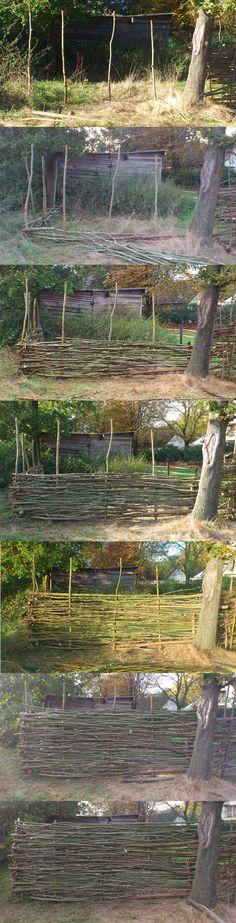 homemade wattle fence, DIY!