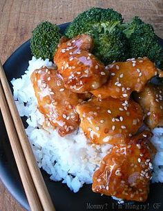 Gluten free sesame chicken- A pinner said: I made this for dinner tonight and my son wanted seconds, which is unheard of! Also, my husband licked his plate clean! Again, unheard of! This easy meal is quite tasty! I made half portions and it fed the 3 of us with enough for leftovers!