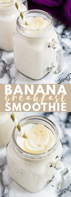 Banana Breakfast Smoothie - Deliciously thick and creamy banana smoothie, that i. - - All and more in Banana Breakfast Smoothie - Deliciously thick and creamy banana smoothie, that i. Healthy Breakfast Smoothies, Healthy Drinks, Healthy Snacks, Diet Breakfast, Banana Breakfast Recipes, Nutrition Drinks, Smoothies For Lunch, Super Healthy Recipes, Healthy Banana Recipes