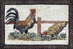 Rooster and Chicken Stone Mosaic Wall Art Kitchen.  MA164