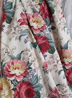 "Cottage Home Foral Scrolls Vintage Barkcloth Era 1940s Curtain Fabric 77 1/2"""