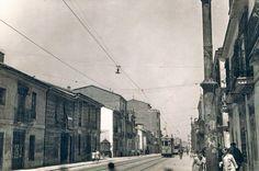 Calle Sagunto en 1962, a la derecha la calle Padre Urbano. Archivo de Rafael Solaz.