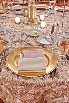 Find This Pin And More On Table Linens The Gorgeous New Rose Linen With Gold Chargers