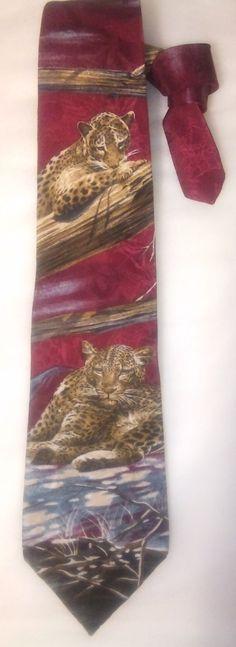 Vintage Wembley Cheeteh Endangered Spiecies Men's Necktie, Snow Leopard, Big Cats, Kitsch,Novelty Tie by KitschArts on Etsy