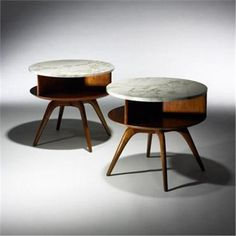 Vladimir Kagan: Walnut and Marble Nightstands , ca. 50s Furniture, Mid Century Modern Furniture, Unique Furniture, Repurposed Furniture, Furniture Design, Coffee Table To Dining Table, Ideas Geniales, Mid Century Design, Nightstands