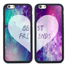 Girls Best Friends Heart Couple Silicone Cases for iPhone 4 5S SE 5C 6 6S Plus 7