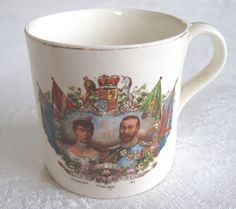 "Coronation of King George V and Queen Mary commemorative mug (""Long May They Reign""), 1911 (SOLD) - www.vanishederas.com"