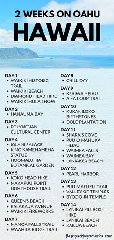 2 weeks in Oahu Hawaii itinerary: Best things to do in Oahu Hawaii - oahu hawaii vacation travel tips and ideas. 2 weeks in hawaii. best things to do oahu hawaii. Oahu Hawaii, Havaí Oahu, Hawaii Hikes, Visit Hawaii, Hawaii Travel, Beach Travel, Hawaii Honeymoon, Arizona Travel, Hawaii Beach