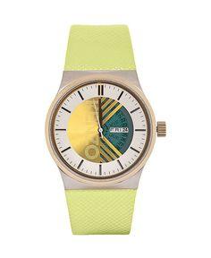 Kenzo orologio - cinturino in pelle - quadrante logato - movimento a tre lancette - indici con colore in contrasto - dat - Orologio donna Giallo