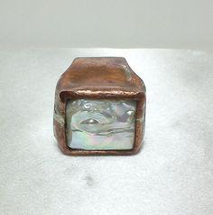 Anello di rame e argento con perla di oreficeriAlternativa su Etsy