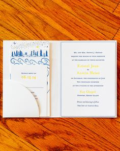 """Regas Studio designed the detailed invitation suite that included illustrations of lovers gazing at a starry sky to echo the phrase """"I love you to the moon…and back,"""" from Kristel's favorite children's book, Guess How Much I Love You. Summer Wedding Invitations, Martha Stewart Weddings, Love You, My Love, Invitation Suite, Plan Your Wedding, Marriage, How To Plan, Lovers"""