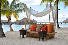 InterContinental Bora Bora Resort & Thalasso Spa sofas on the beach Bora Bora Resorts, Hotels And Resorts, Exotic Places, Luxury Spa, French Polynesia, Hotel Spa, Resort Spa, Dream Vacations, Outdoor Decor