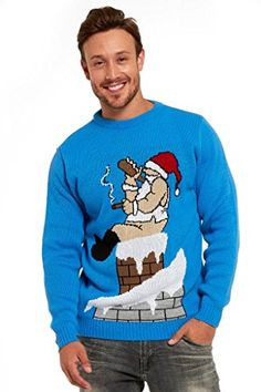 YOU LOOK UGLY TODAY Knitted Mens Ugly Christmas Sweater Unisex with Santa Reindeer Jumper Drunk Santa-M