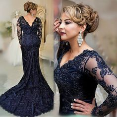 Cheap dresses and evening gowns, Buy Quality gown scarf directly from China gown design Suppliers: 2017 Royal Blue Mother Of The Bride Dresses Appliques Beads Long Sleeves Formal Gown For Mermaid Lace Mother Dress