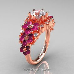Nature Classic 18K Rose Gold 1.0 Ct White Sapphire by artmasters, $1959.00