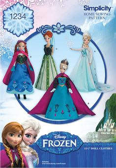 """Disney's Frozen doll clothes pattern for 11 1/2"""" dolls features Elsa's coronation gown, cape, and snow queen gown and Anna's coronation dress, day dress, and cape. DIY with Simplicity pattern 1234."""