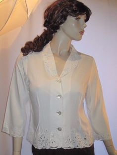Fresco by Nomadic Traders Size M White 100% Rayon Fancy Lacy Button Front Blouse #FrescobyNomadicTraders #Blouse #Career