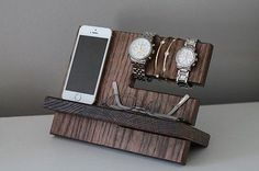 Mens Wood Tray Valet Jewelry Box Storage Dresser Nightstand Organizer Phone