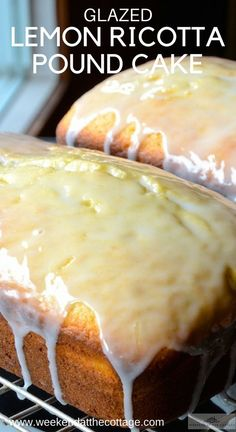 This glazed LEMON RICOTTA POUND CAKE is a perfect summer snack, dessert or serve it for breakfast on the weekend. It makes a wonderful snack to take when visiting friends or going to the cottage. It's tangy, moist and delicious! Summer Dessert Recipes, Lemon Desserts, Lemon Recipes, Just Desserts, Delicious Desserts, Light Desserts, Moist Lemon Pound Cake, Lemon Glaze Cake, Ricotta Pound Cake
