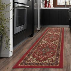 Ottomanson Ottohome Collection Contemporary Moroccan Trellis Design Area Rugs and Runners with Non-Skid (Non-Slip) Rubber Backing, Beige Style Oriental, Oriental Design, Oriental Rug, Modern Color Palette, Modern Colors, Paisley Design, Floral Design, Paisley Rug, Red Design