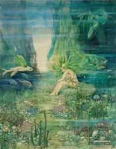 "Helen Jacobs (1888-1970) American book illustrator - ""The Mermaid Girl"""