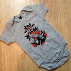 baby bodysuit / tattoo baby / old school anchor by hardtimesdesign