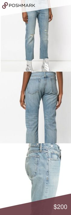 """NWT rag & bone Wicked Boyfriend Jeans Cropped cutoff hems update slouchy high-waist jeans that are faded, ripped and shredded for a worn-in look. Zip fly with button closure. Five-pocket style. Size 27. 100% cotton.  Around a 26"""" inseam; 14"""" leg opening; 12"""" front rise; 16"""" back rise. (Approx. Measurements) rag & bone Jeans Boyfriend"""