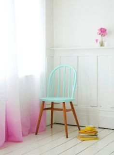 Dip dye. by jeri Ombre Curtain but in blue and I love the paint job on that chair!