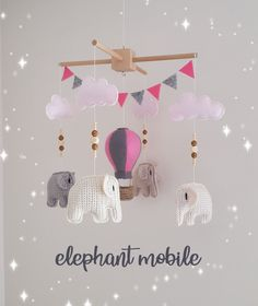 Your place to buy and sell all things handmade Elephant Size, Crochet Elephant, Baby Crib Mobile, Baby Cribs, Cute Gifts, Baby Gifts, Elephant Mobile, Crochet Mobile, Crochet Teddy