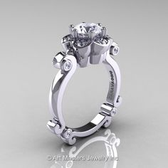 Art Masters Caravaggio 14K White Gold 1.0 Ct White Sapphire Diamond Engagement Ring R606-14KWGDWS by artmasters on Etsy https://www.etsy.com/listing/202945039/art-masters-caravaggio-14k-white-gold-10