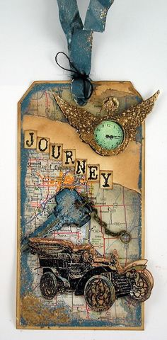 """Grungy Travel Tag...glittered """"watch""""...Suzanne's Stamping Spot.  Want to do the key and vintage car on a map for a Travel page."""