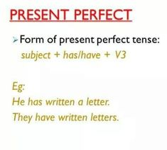 Present Perfect Form, Action Verbs, Presents, Letters, Writing, Gifts, Letter, Favors, Lettering
