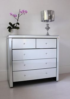 Glass Chest Of Drawers Bedroom Furniture - Besides all these contemporary bedroom suggestions, some issues ought to be kep Mirrored Bedroom Furniture, Bedroom Furniture Design, Cool Furniture, Bedroom Drawers, Bedroom Ideas, Mirror Chest Of Drawers, Dresser With Mirror, Simple House Plans, Glam Room