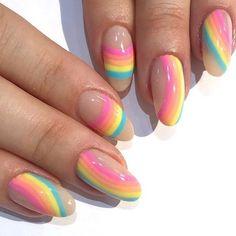 Cute Acrylic Nails, Gel Nails, Pastel Nails, Hippie Nails, Hippie Nail Art, Broken Nails, Funky Nails, Fire Nails, Rainbow Nails
